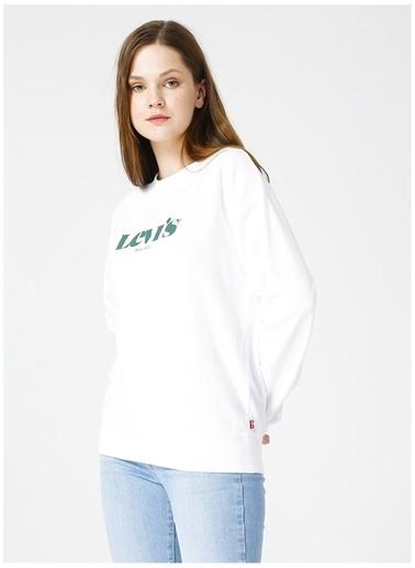 Levi's® 186860017 Ic Standard Crew Crew New Logo Bisiklet Yaka Rahat Pamuklu Kadın Sweatshirt Renkli